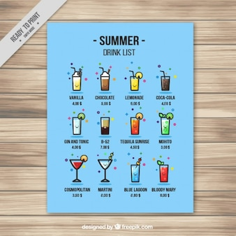 Liste des boissons drôle d'été