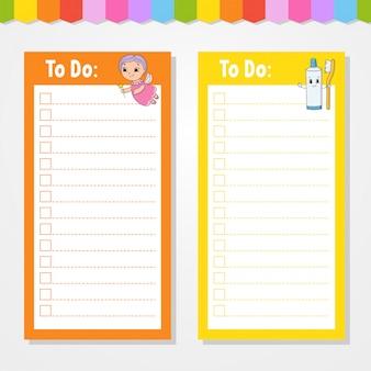 Liste de choses à faire pour les enfants avec dessin animé