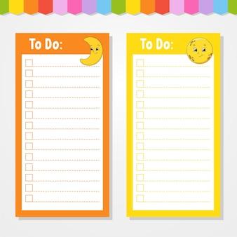 Liste de choses à faire pour les enfants. modèle vide. croissant et lune. la forme rectangulaire. personnage drôle. style de bande dessinée. pour l'agenda, le cahier, le signet.
