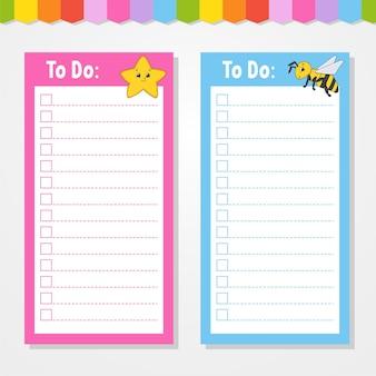 Liste de choses à faire pour les enfants. modèle vide. étoile et abeille. la forme rectangulaire. personnage drôle. style de bande dessinée. pour l'agenda, le cahier, le signet.