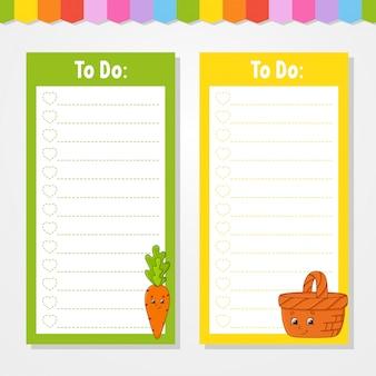 Liste de choses à faire pour les enfants. modèle vide. la forme rectangulaire.
