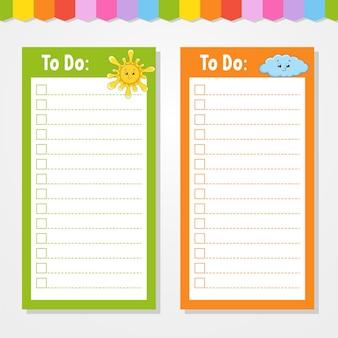 Liste de choses à faire pour les enfants. modèle vide. soleil et nuages. la forme rectangulaire. personnage drôle. style de bande dessinée. pour l'agenda, le cahier, le signet.