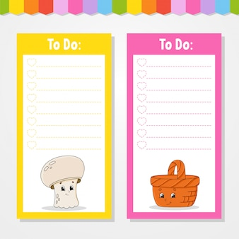 Liste de choses à faire pour les enfants. modèle vide.