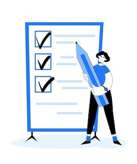 Liste des choses à faire en style cartoon. femme avec un crayon dans ses mains près du tableau noir dans un style plat.