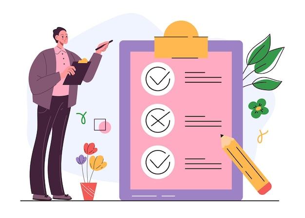 Liste de coche briefings d'organisation et concept de case à cocher de questionnaire