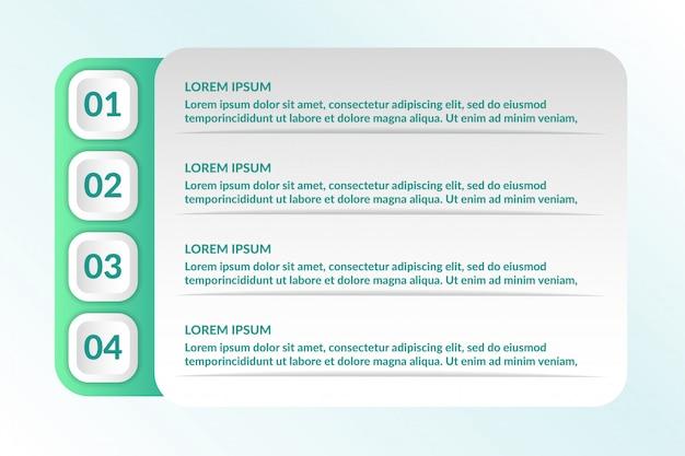 Liste conception infographique avec 4 listes info