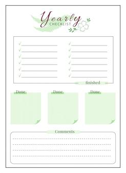 Liste de contrôle annuelle conception de page de planificateur minimaliste