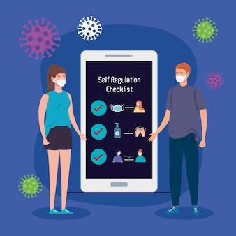 Liste de contrôle d'autorégulation pour covid-19 dans un smartphone avec un couple à l'aide d'un masque médical vector illustration design