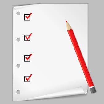 Liste de contrôle avec un crayon