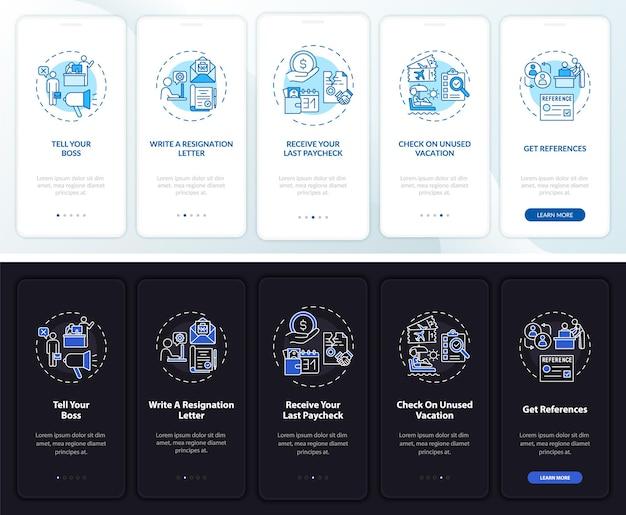 Liste de contrôle de démission à bord de l'écran de la page de l'application mobile avec des concepts