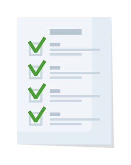 Liste de contrôle des documents ou formulaire de demande avec coche