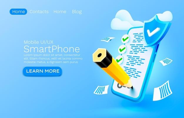 Liste de contrôle des documents mobiles gestion de l'organisation des services smartphone technologie d'écran mobile mobil
