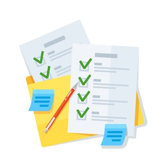 Liste de contrôle d'entreprise ou document dans un dossier isolé sur blanc