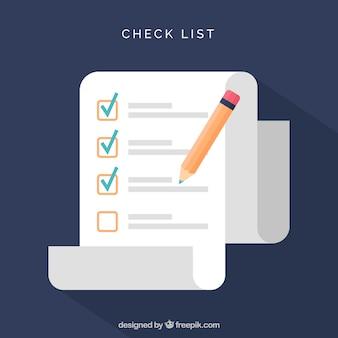 Liste de contrôle géométrique avec un crayon