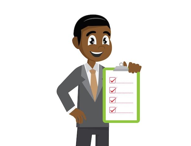 Liste de contrôle de holding homme d'affaires africain.