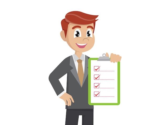 Liste de contrôle de holding homme d'affaires.