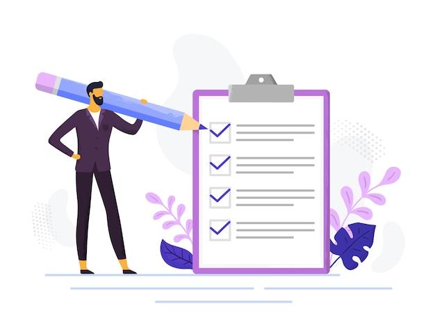 Liste de contrôle d'homme d'affaires. contrôler les listes de contrôle des entreprises, un homme tenant un crayon et des listes de documents d'examen. vérifie l'illustration des tâches