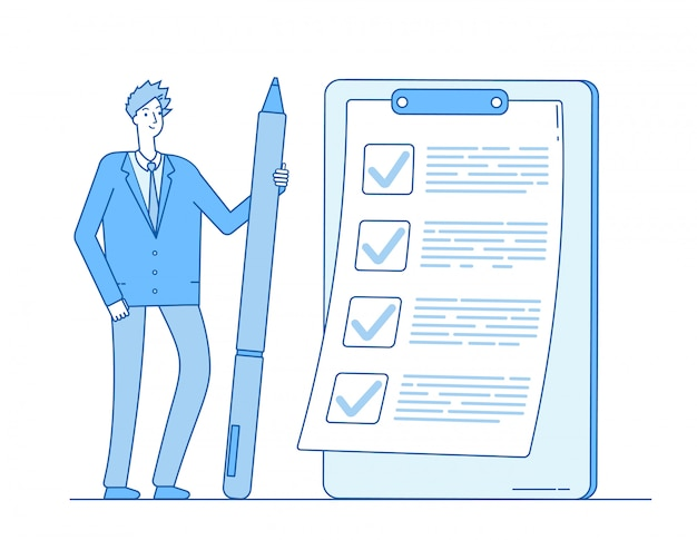 Liste de contrôle homme d'affaires. personne, tenue, crayon, tâche, liste, presse-papiers concept d'inspection d'examen de questionnaire complet