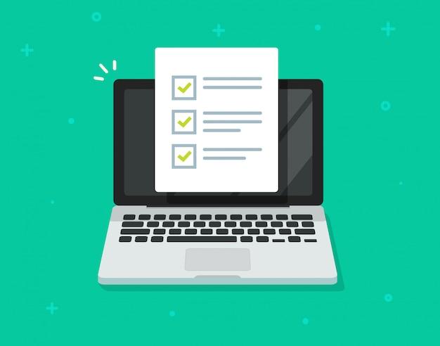 Liste de contrôle en ligne ou pour faire un document de liste de tâches sur un dessin animé plat d'ordinateur portable