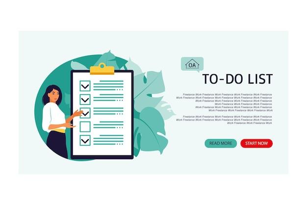 Liste de contrôle, liste de tâches. page de destination. concept de liste ou de bloc-notes. idée d'entreprise, planification ou pause-café. illustration vectorielle. style plat.
