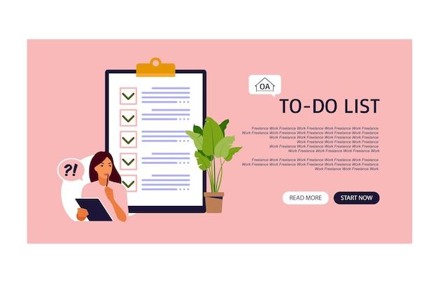 Liste de contrôle, page de destination de la liste de tâches avec modèle d'appel à l'action. idée d'entreprise, planification ou pause-café.