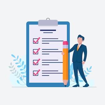 Liste de contrôle pour faire la liste avec l'homme d'affaires sur l'illustration de conception plate