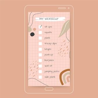Liste de contrôle rose d'entraînement instagram story