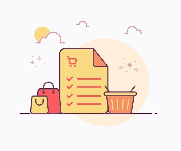 Liste de courses concept liste de contrôle notes autour de l'icône de sac de panier avec illustration de conception de vecteur de style de ligne unie de couleur douce