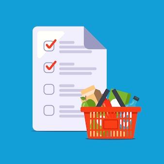 Liste de courses à domicile. assembler un panier d'épicerie. illustration plate.