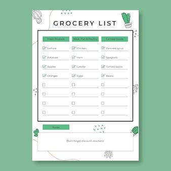 Liste d'épicerie de plantes de détails verts dessinés à la main