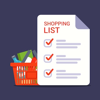 Liste d'épicerie pour faire les courses dans le magasin. liste de courses avec des marques. illustration