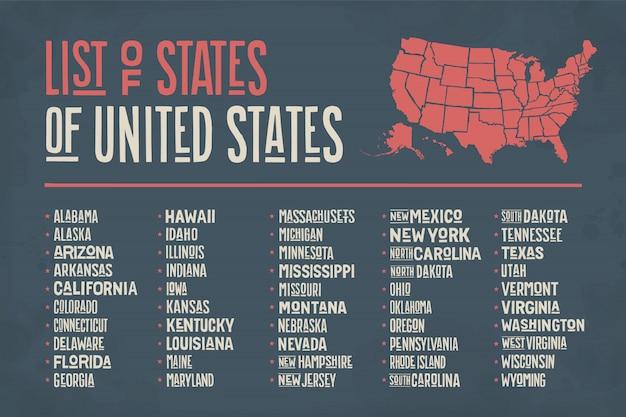 Liste des états des états-unis d'amérique