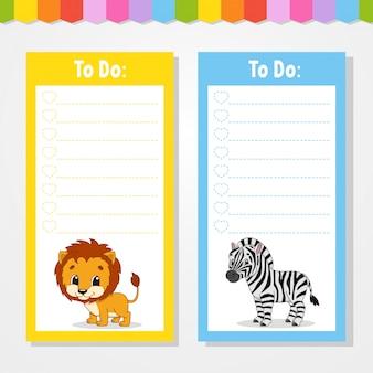 Liste à faire pour les enfants.