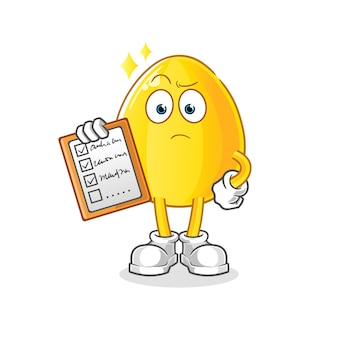 Liste des horaires des œufs d'or. mascotte de dessin animé mascotte de dessin animé