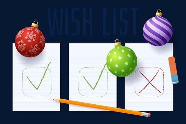 Liste de plans de souhaits du nouvel an. liste des objectifs du nouvel an. texte des résolutions 2022 sur le bloc-notes. plan d'action. crayons et boule boule d'arbre réaliste colorée