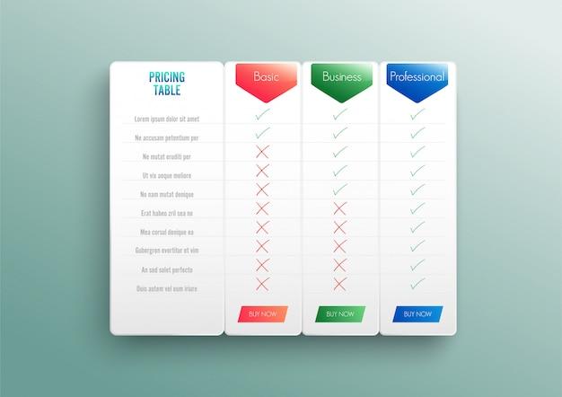Liste de prix de comparaison. en comparant le prix ou le plan de produit, comparez les produits à l'achat d'entreprise.