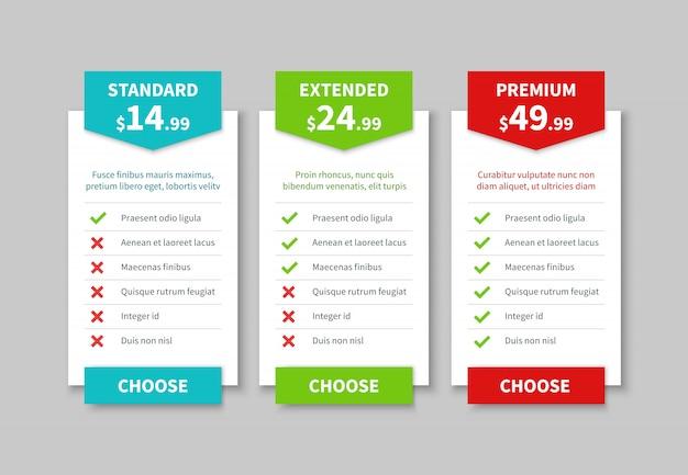 Liste de prix de comparaison. tableau des tarifs, tableau tarifaire comparatif des prix des produits. modèle de bannière d'option infographique entreprise