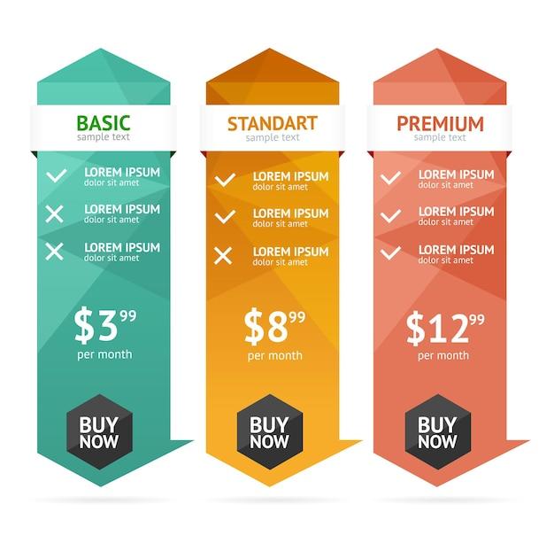 Liste de prix. éléments de conception web modifiables