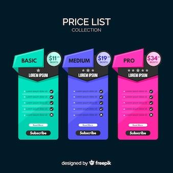 Liste de prix forfaitaire
