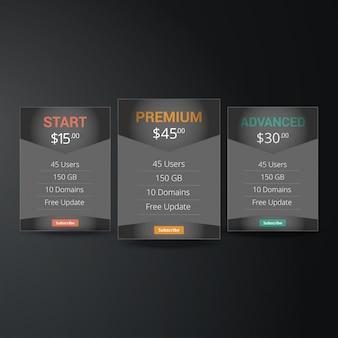 Liste de prix, plans d'hébergement et conception de bannières web. trois tarifs. interface pour le site. bannière de vecteur ui ux pour l'application web.
