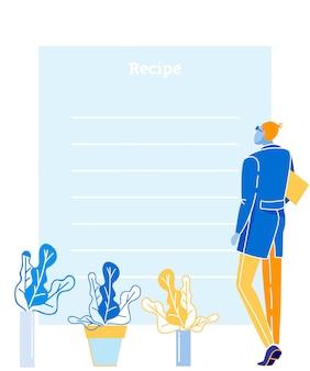 Liste de recettes médicales plates avec place pour le texte et la conception simple