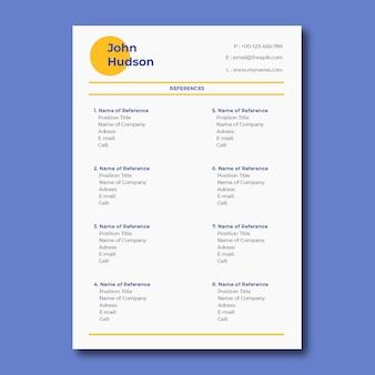 Liste de références professionnelles simples et modernes