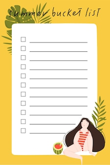 Liste de seaux d'été avec illustration dessinée à la main de feuilles de jolie fille et d'éléments d'été