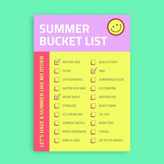 Liste de seaux d'été moderne et coloré