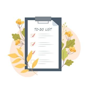 Liste de tâches d'automne sur tablette dans un style plat