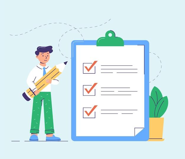 Liste de tâches, gestion du temps. homme d'affaires moderne. illustration vectorielle plane.