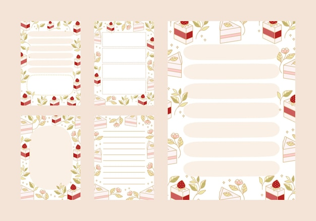 Liste de tâches, planificateur quotidien, modèles de bloc-notes avec des éléments de gâteau et de fraise dessinés à la main