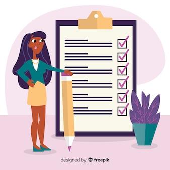 Liste de vérification femme liste de vérification géante