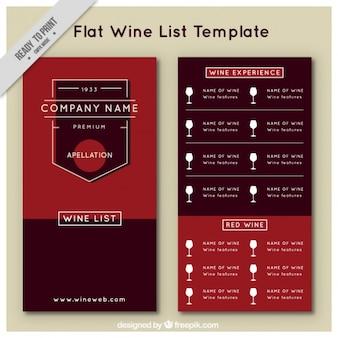 La liste des vins modèle dans un style plat