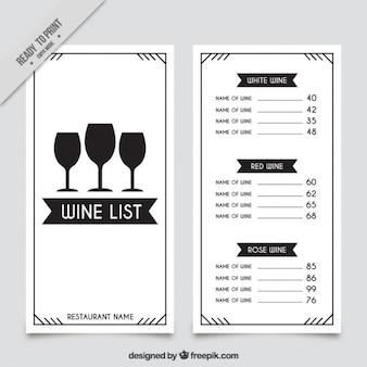 La liste des vins modèle avec trois verres